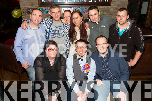 Gary Reidy from Castleisland celebrating his 30th Birthday at the Abbey Inn on Saturday  Front l-r Louise Nolan, Gary Reidy, Kenny Griffin.  Back l-r Anthony Healy, Daniel, Evelina, Gosha, Danny Nash, Jan Nesco