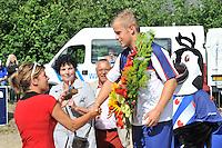 FIERLJEPPEN: WINSUM: 10-08-2013, Fries kampioenschap Fierljeppen, Tom Hoekstra, ©foto Martin de Jong