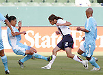 7 June 2007: The United States Frankie Hejduk (2) has his right calf kicked by Guatemala's Gustavo Cabrera (l) as Leonel Noriega (r) follows the play. The United States Men's National Team defeated the National Team of Guatemala 1-0 at the Home Depot Center in Carson, California in a first round game in the CONCACAF Gold Cup.