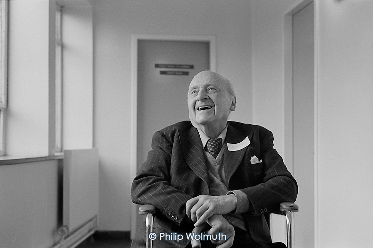 Berthold Lubetkin, architect and 1930s pioneer of modernist design in the UK.  Finsbury Health Centre, one of his landmark buildings, London.
