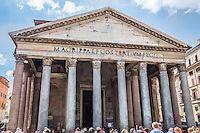 The Pantheon (temple of all gods) built, in 110 AD on the site of previous versions. It is in excellent condition and is still the largest unreinforced concrete dome in the world. This image has a water color effect applied. (Photo by Travel Photographer Matt Considine)
