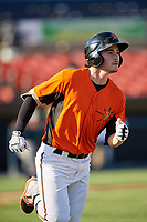 Frederick Keys second baseman Preston Palmeiro (7) runs to first base during the first game of a doubleheader against the Lynchburg Hillcats on June 12, 2018 at Nymeo Field at Harry Grove Stadium in Frederick, Maryland.  Frederick defeated Lynchburg 2-1.  (Mike Janes/Four Seam Images)