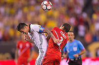 Action photo during the match Peru vs Colombia, Corresponding to the quarterfinals of the America Cup 2016 Centenary at Metlife Stadium.<br /> <br /> Foto de accion durante el partido Peru vs Colombia, Correspondiente a los Cuartos de Final de la Copa America Centenario 2016 en el Estadio Metlife, en la foto: (i-d) James Rodriguez de Colombia y Aldo Corzo de Peru <br /> <br /> <br /> 17/06/2016/MEXSPORT/Osvaldo Aguilar.