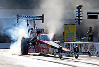 Sep 14, 2013; Charlotte, NC, USA; NHRA top fuel dragster driver Antron Brown during qualifying for the Carolina Nationals at zMax Dragway. Mandatory Credit: Mark J. Rebilas-