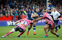 Chris Cook of Bath Rugby takes on the Exeter Chiefs defence. Anglo-Welsh Cup Final, between Bath Rugby and Exeter Chiefs on March 30, 2018 at Kingsholm Stadium in Gloucester, England. Photo by: Matt Impey / Wired Photos for Onside Images