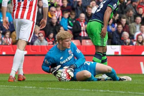 02.04.2016. Britannia Stadium, Stoke, England. Barclays Premier League. Stoke City versus Swansea City.  Stoke City goalkeeper Jakob Haugaard after a save.