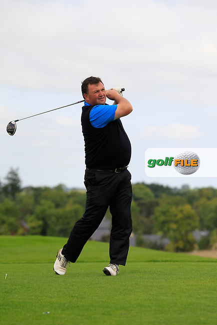 Donnchadh Crowley (Lisselan) on the 6th tee during the AIG Jimmy Bruen Shield Final between Lisselan &amp; Waterford in the AIG Cups &amp; Shields at Carton House on Saturday 20th September 2014.<br /> Picture:  Thos Caffrey / www.golffile.ie