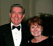 CBS Evening News Anchor Dan Rather arrives at The White House in Washington, D.C. for the State Dinner in honor of President Jiang Zemin of China with his wife, Jean on October 29, 1997..Credit: Ron Sachs / CNP