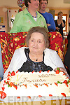 Annie Lambe Ballymullen, Tralee celebrated her 100th birthday with her family and friends in Ashbourough Lodge Milltown on Sunday front row l-r: Teresa Dillane, Ann, Sheila, Tracey Cantillan, Terry Lambe, Patsy Gleeson. Back row: Isabelle O'Leary, Leona Lambe, Chris Hegarty, John Lambe, Lisa, Gerard Cantillan, Anita Lambe, Shane, Paul Cantillan, David Gleeson, Eimear Lambe, Jamie Gleeson, Breda , Ciara and Noreen Lambe.