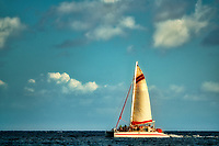 Sailboat off Kauai coast. Hawaii