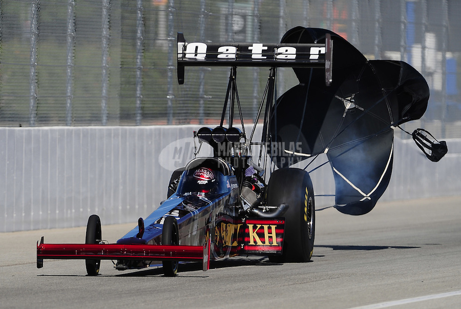 Nov 13, 2010; Pomona, CA, USA; NHRA top fuel dragster driver Larry Dixon during qualifying for the Auto Club Finals at Auto Club Raceway at Pomona. Mandatory Credit: Mark J. Rebilas-