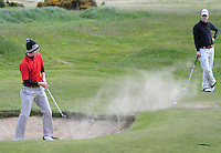 John Conroy (Bray) in a bunker on the 9th during the 2nd round of the East of Ireland Amateur Open Championship 2013 Co Louth Golf club 2/6/13<br /> Picture:  Thos Caffrey / www.golffile.ie