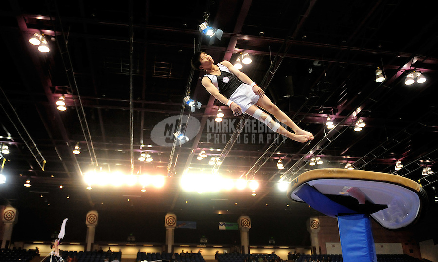 Mar 28, 2008; San Jose, CA, USA; Ping-Chien Shu (TPE) performs on the vault during the mens gymnastics all around final in the Pacific Rim Championships at the Event Center Arena. Mandatory Credit: Mark J. Rebilas-US PRESSWIRE
