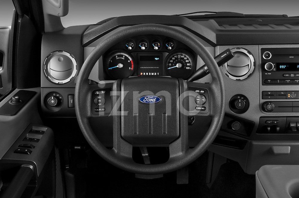 Steering wheel view of a 2011 Ford F-250 Crew Cab 4x4
