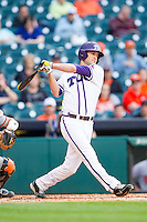 Dylan Fitzgerald #38 of the Texas Christian Horned Frogs follows through on his swing against the Sam Houston State Bearkats at Minute Maid Park on February 28, 2014 in Houston, Texas.  The Bearkats defeated the Horned Frogs 9-4.  (Brian Westerholt/Four Seam Images)