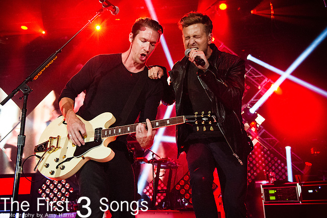 Zach Filkins and Ryan Tedder of OneRepublic performs at the Lifestyle Communities Pavilion in Columbus, Ohio.