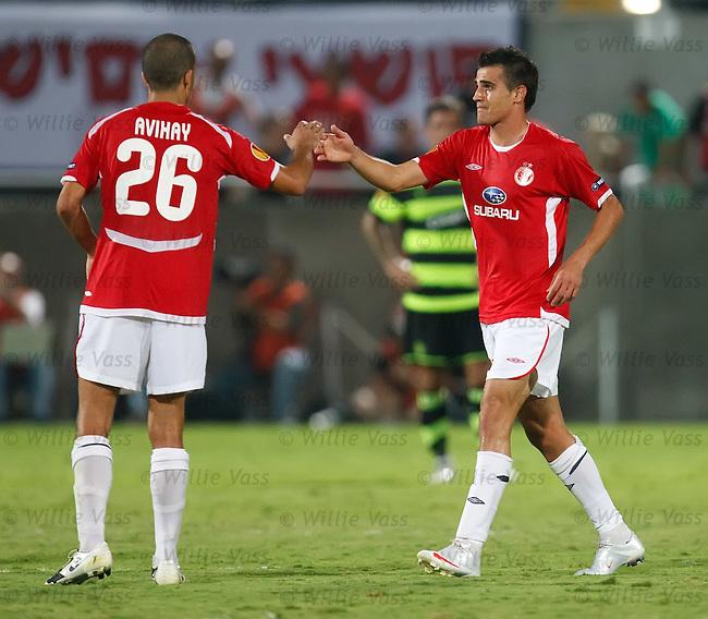 Maaran Lala (R) celebrates scoring the winning goal for Hapoel