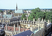 Oxford: Brasenose College from spire of St. Mary's. The Gatehouse and old Quadrangle, 1509-1516; behind, spire of St. Michael's. Photo '87.