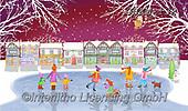 Kate, CHRISTMAS SYMBOLS, WEIHNACHTEN SYMBOLE, NAVIDAD SÍMBOLOS, paintings+++++Christmas page 105,GBKM132,#xl#,skating ,winterlandscape