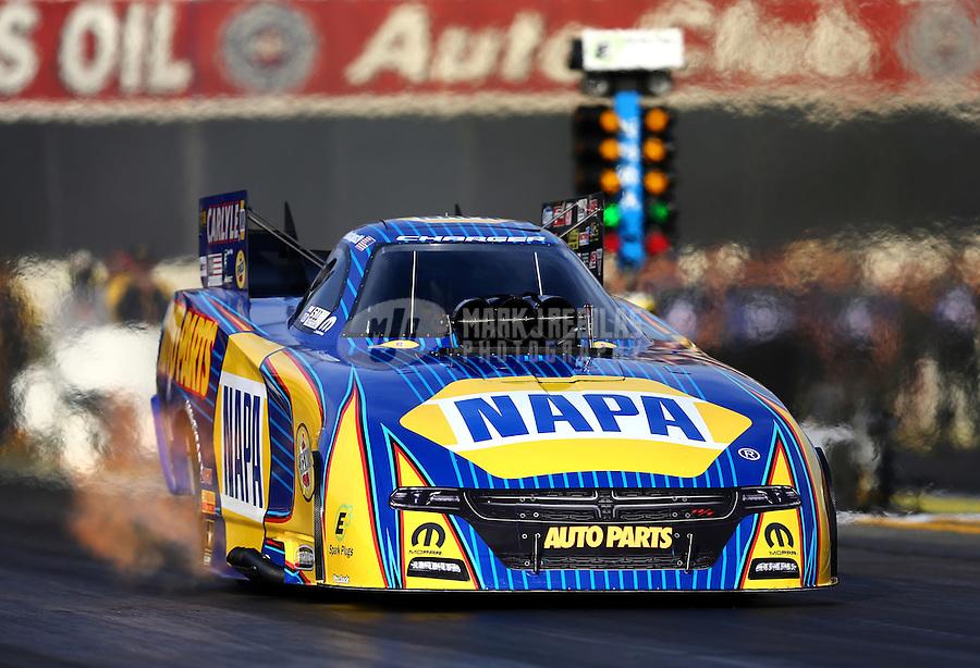 Feb 14, 2016; Pomona, CA, USA; NHRA funny car driver Ron Capps during the Winternationals at Auto Club Raceway at Pomona. Mandatory Credit: Mark J. Rebilas-USA TODAY Sports