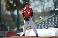 Illinois Fighting Illini relief pitcher Aidan Maldonado (41) looks to his catcher for the sign against the West Virginia Mountaineers at TicketReturn.com Field at Pelicans Ballpark on February 23, 2020 in Myrtle Beach, South Carolina. The Fighting Illini defeated the Mountaineers 2-1.  (Brian Westerholt/Four Seam Images)