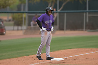 Colorado Rockies outfielder Stephen Cardullo (9) during an Extended Spring Training game against the Arizona Diamondbacks at Salt River Fields at Talking Stick on April 16, 2018 in Scottsdale, Arizona. (Zachary Lucy/Four Seam Images)