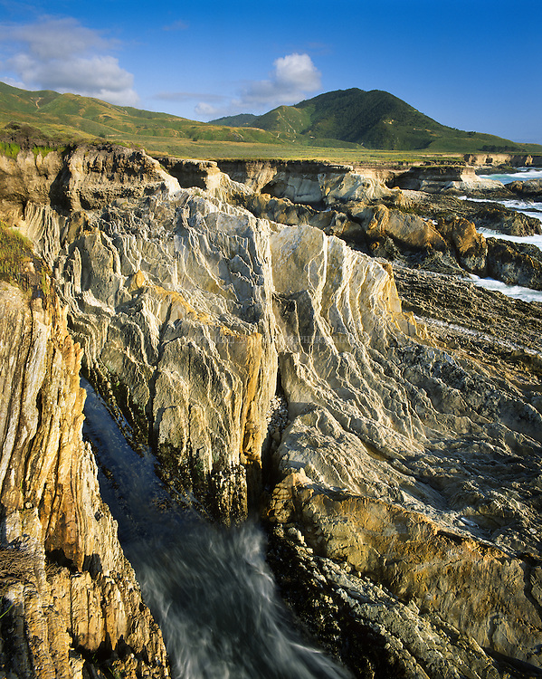 """Montana de Oro State Park. Park gets its name """"Mountain of Gold"""" from the many wildflowers that color the coastal hills in spring. 7,828 acres. Geology includes excellent examples of the Monterey Formation, a widespread, thick body of silica-rich rock laid down in Miocene time, approximately 16 to 6 million years ago."""