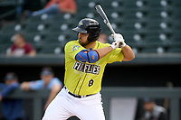 Designated hitter Chase Chambers (8) of the Columbia Fireflies bats in a game against the Hickory Crawdads on Tuesday, August 27, 2019, at Segra Park in Columbia, South Carolina. Columbia won, 3-2. (Tom Priddy/Four Seam Images)