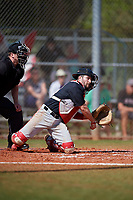 Ball State Cardinals catcher Chase Sebby (20) throws down to first base during a game against the Saint Joseph's Hawks on March 9, 2019 at North Charlotte Regional Park in Port Charlotte, Florida.  Ball State defeated Saint Joseph's 7-5.  (Mike Janes/Four Seam Images)