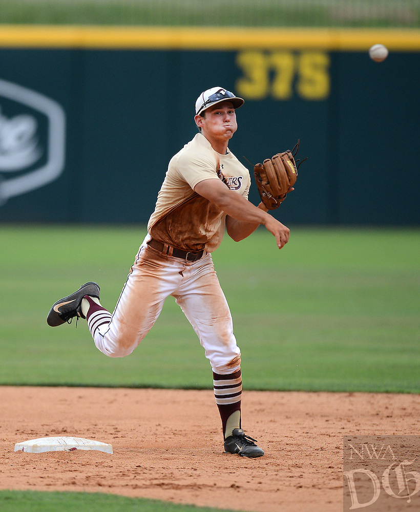 STAFF PHOTO SAMANTHA BAKER &yen; @NWASAMANTHA<br /><br />Mitchell Rogers of the Inside Sports Cavilers tries to turn a double play Sunday, June 22, 2014, during the game against the Arkansas Prospects at Baum Stadium in Fayetteville.