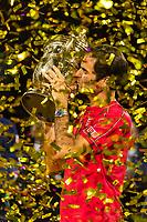 27th October 2019; St. Jakobshalle, Basel, Switzerland; ATP World Tour Tennis, Swiss Indoors Final; Roger Federer (SUI) kisses the winners trophy after winning the match against Alex de Minaur (AUS) - Editorial Use