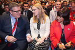 © Joel Goodman - 07973 332324 . 28/09/2016 . Liverpool , UK . TOM WATSON offers Love Heart sweets to CAT SMITH and Jeremy Corbyn's wife LAURA ALVAREZ ahead of the Leader's Speech at the close of the final day of the Labour Party Conference at the ACC in Liverpool . Photo credit : Joel Goodman