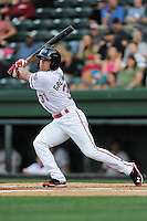 Right fielder Bo Greenwell (31) of the Greenville Drive bats in a game against the Asheville Tourists on Monday, April 21, 2014, at Fluor Field at the West End in Greenville, South Carolina. Greenville won, 8-3. (Tom Priddy/Four Seam Images)