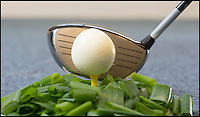 BNPS.co.uk (01202 558833)<br /> Pic: PhilYeomans/BNPS<br /> <br /> ***Please Use Full Byline***<br /> <br /> The Sports Huevos golf ball egg. <br /> <br /> This bonkers kitchen gadget is ruffling a few feathers among sports fans - because it turns eggs into golf balls.The plastic device can be used to mould boiled eggs so they look just like the unmistakable shape of dimpled golf balls.They're the perfect present for anyone wanting to being a bit of action to their home cooking - especially at tee time.The gadgets, called Sports Huevos, also come in tennis and football varieties, and each pack costs &pound;9.95 from Luckies of London.
