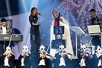 Julia Michaels performs with 'Clean Bandit' during the show of the 2017 MTV Europe Music Awards, EMAs, at SSE Arena, Wembley, in London, Great Britain, on 12 November 2017. Photo: Hubert Boesl <br />