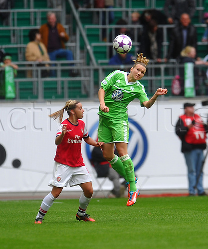 21.04.2013. Wolfsburg, Germany. Womens Champions League, Wolfsburg versus Arsenal, second leg.  Josephine HENNING  (VfL Wolfsburg) wins the header in midfield