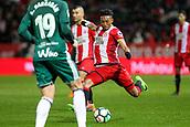 13th April 2018, Estadi Montilivi, Girona, Spain; La Liga football, Girona versus Real Betis; Johan Mojica of Girona crosses the ball into the box