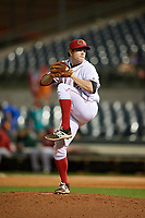 Florida Fire Frogs relief pitcher Sean McLaughlin (17) delivers a pitch during the teams inaugural game against the Daytona Tortugas on April 6, 2017 at Osceola County Stadium in Kissimmee, Florida.  Daytona defeated Florida 3-1.  (Mike Janes/Four Seam Images)
