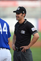 ***Temporary Unedited Reference File***Umpire Jeff Gorman during a game between the Arkansas Travelers and Tulsa Drillers on April 25, 2016 at ONEOK Field in Tulsa, Oklahoma.  Tulsa defeated Arkansas 4-3.  (Mike Janes/Four Seam Images)
