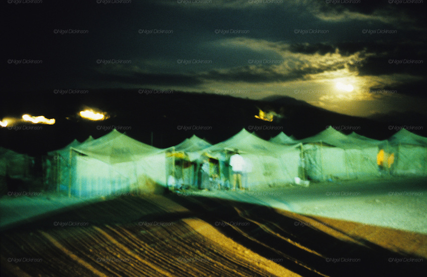 The infamous Konik refugee camp, where Kosovar Roma refugees were all but forgotten after the war, living on meagre handouts and sheltering in all weathers in a UNHCR tent village long after the war had ended. Podgerica, Montenegro 1999