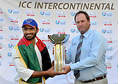 Richard Done, ICC High Performance Manager, (right), presents the Intercontintal Cup to Afghanistan captain Nawroz Mangal to mark their victory over Scotland - in the Intercontinental Cup final match at Dubai ICC Sports City Cricket Ground - picture by Donald MacLeod 04.12.10 - mobile 07702 319 738 - clanmacleod@btinternet.com - www.donald-macleod.com