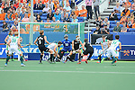 The Hague, Netherlands, June 03: Players of New Zealand try to block a shot during the field hockey group match (Men - Group B) between South Africa and the Black Sticks of New Zealand on June 3, 2014 during the World Cup 2014 at GreenFields Stadium in The Hague, Netherlands. Final score 0:5 (0:3) (Photo by Dirk Markgraf / www.265-images.com) *** Local caption ***