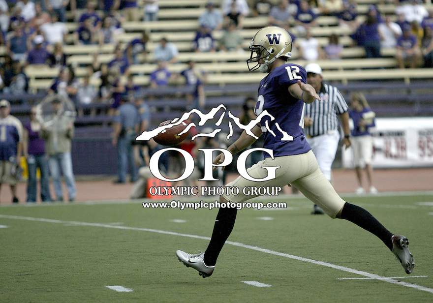 Sept 06, 2008:  Washington punter #12 Jared Ballman punts the ball to BYU. BYU won 28-27 over the Washington Huskies at Husky Stadium in Seattle, Washington..