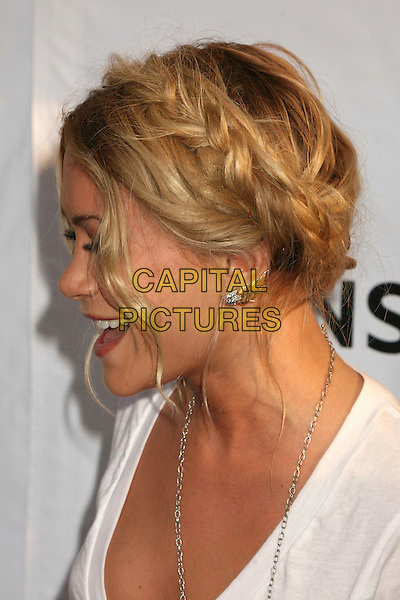 "MARY-KATE OLSEN.""Weeds"" Season 3 and ""Californication"" Premiere at the Cinerama Dome, Hollywood, California, USA..August 1st, 2007.headshot portrait braids plaits hair white profile mouth open.CAP/ADM/BP.©Byron Purvis/AdMedia/Capital Pictures"