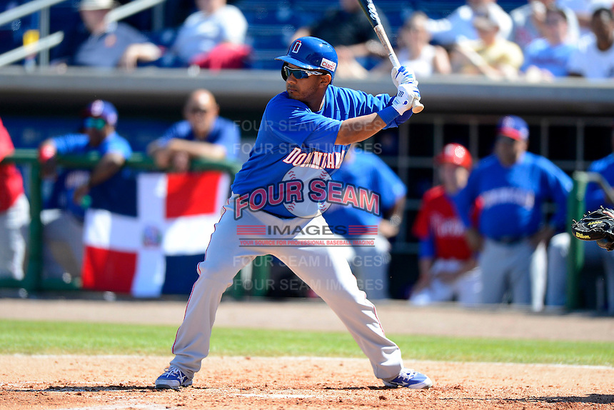 Dominican Republic outfielder Ricardo Nanita #32 during a Spring Training game against the Philadelphia Phillies at Bright House Field on March 5, 2013 in Clearwater, Florida.  The Dominican defeated Philadelphia 15-2.  (Mike Janes/Four Seam Images)