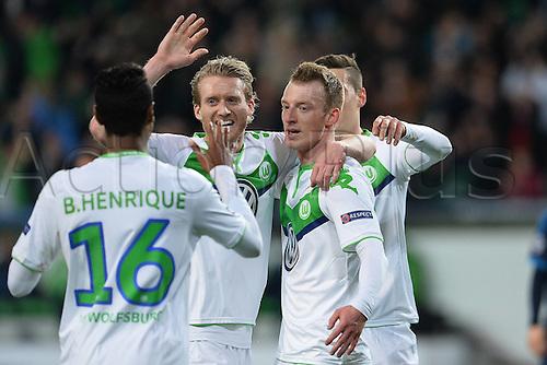06.04.2016. Wolfsburg, Geramny. UEFA Champions League quarterfinal. VfL Wolfsburg versus Real Madrid.  Wolfsburg Maximilian Arnold (VfL Wolfsburg 27) celebrates the goal for 2:0 past keeper Keylor Navas (Real Madrid CF 1)