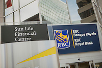 RBC Groupe Financier sign is pictured on the Sun Life Financial Centre in Ottawa Tuesday November 18, 2014. The Royal Bank of Canada (in French, Banque Royale du Canada, and commonly RBC in either language) is the largest financial institution in Canada, which is measured by deposits, revenues, and market capitalization.
