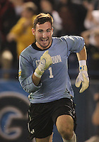 HOOVER, AL - DECEMBER 07, 2012:  Tomas Gomez (1) of Georgetown University after making the game winning save during an NCAA 2012 Men's College Cup semi-final match, at Regents Park, in Hoover , AL, on Friday, December 07, 2012. The game ended in a 4-4 tie, after overtime Georgetown won on penalty kicks.