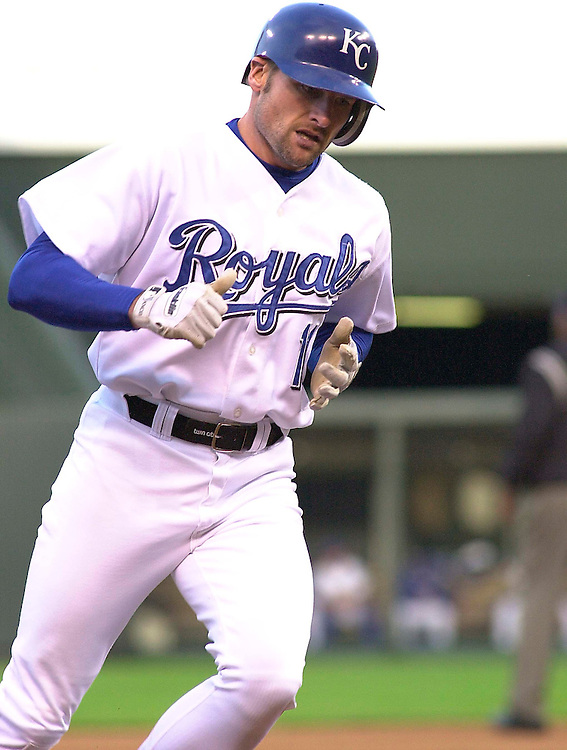 Royals left fielder Chuck Knoblauch rounds the bases with a solo home run in the first inning against the Minnesota Twins at Kauffman Stadium in Kansas City, Missouri on May 14, 2002.  Kansas City won 8-1.