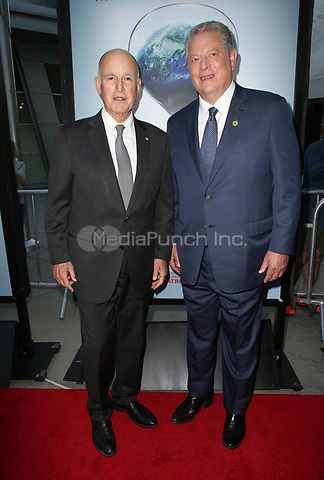 """HOLLYWOOD, CA - JULY 25: Governor Jerry Brown, Al Gore, At Screening Of Paramount Pictures' """"An Inconvenient Sequel: Truth To Power"""" At ArcLight Hollywood In California on July 25, 2017. Credit: FS/MediaPunch"""